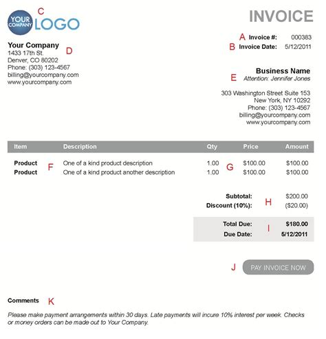 invoice late payment terms invoice template ideas