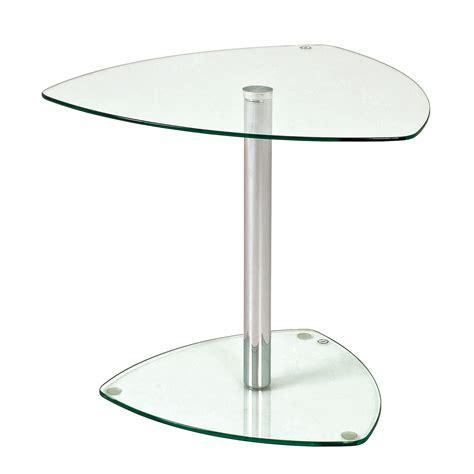 table bout de canap en verre bout de canapé en verre trempé piètement chromé