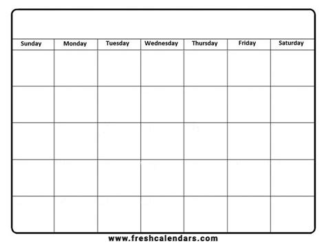 affordable templates blank  monthly calendar template