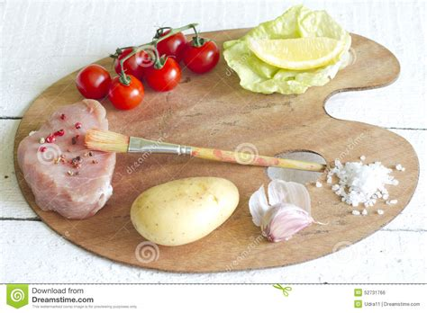 cuisine palette assortment of food on paint palette culinary idea stock