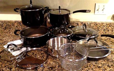 tramontina porcelain enamel colored nonstick aluminum  piece cookware set