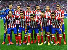 Atletico de Madrid players pose for a team photo before