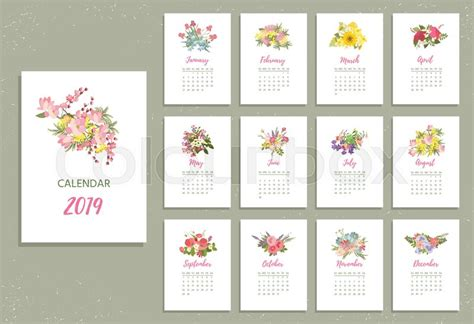 printable calendar pretty stock vector colourbox