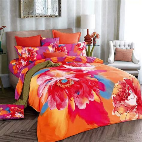 orange quilt set watercolor 3d orange and purple bedding set