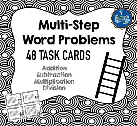 Multistep Word Problems Task Cards  Activities, Words And Group