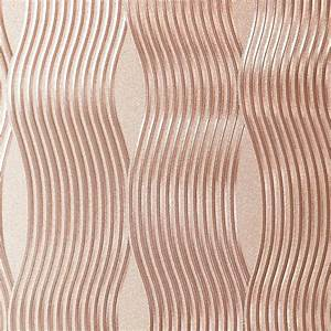 Arthouse Vintage Wallpaper Foil Wave Rose Gold 294500