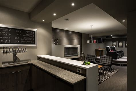 Lovely Basement Wet Bar Design With Drum Pendant Brewery