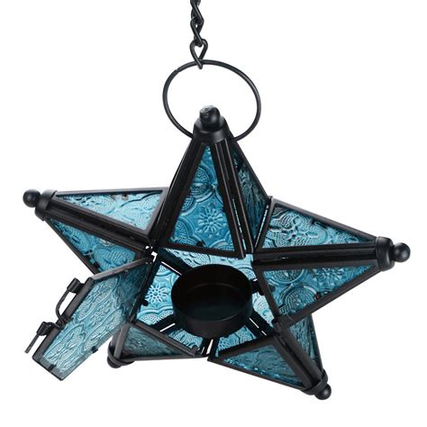 moroccan style star hanging glass lantern tea light holder
