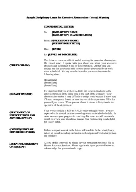 sample disciplinary letter  excessive absenteeism