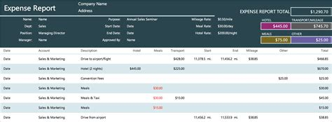 expense report templates  microsoft excel