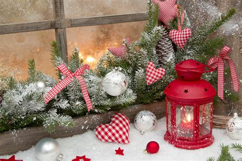 red rustic christmas decoration  window sill  red