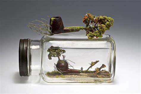 miniature landscapes sculpted  household objects