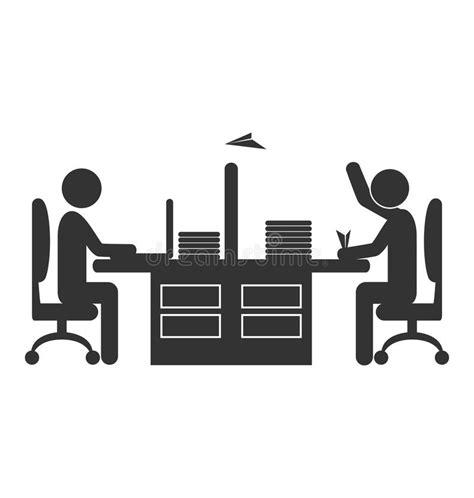 icone de bureau travailleur plat d 39 icône de bureau avec l 39 avion de papier