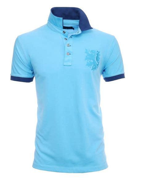 embroider polo shirt template men s polo pique short sleeves sky blue 2 color collar