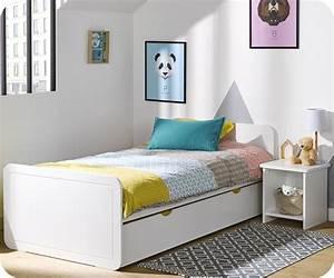 Pack lit enfant lemon blanc 90x190 cm avec sommier et matelas for Deco chambre enfant avec achat matelas latex 90x190