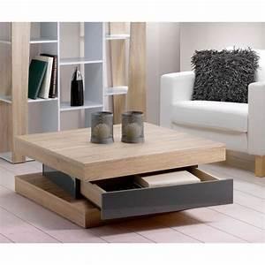 Table Chene Clair : fixy table basse coloris ch ne clair tiroir gris achat vente table basse fixy table basse ~ Teatrodelosmanantiales.com Idées de Décoration