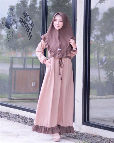 Gamis Lebaran Wanita 17 model gamis lebaran 2019 desain casual modis modern