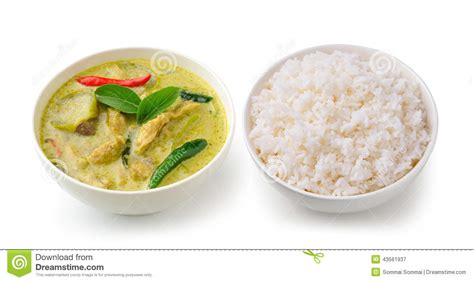 curry cuisine food chicken green curry in the white bowl and rice