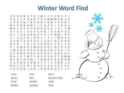 14 free printable winter word searches kittybabylove com