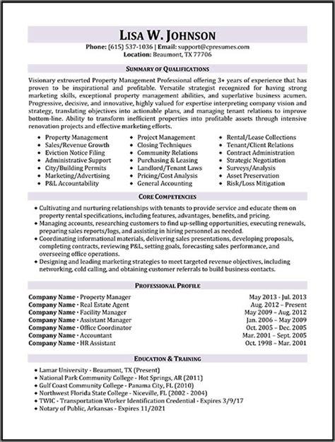 Manager Resume by Property Manager Resume Sle Sle Resumes