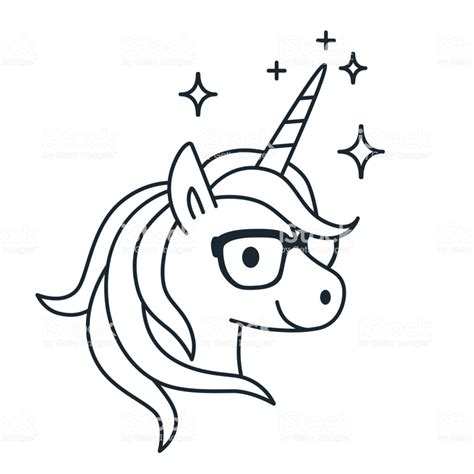 cute unicorn wearing eyeglasses single color outline