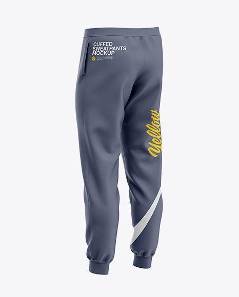 Men's running shorts mockup psd mockup. Mens Cuffed Sweatpants Back Right Half-Side View Jersey ...