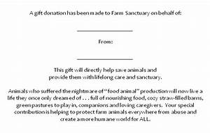 in honor and memory farm sanctuary With donation made in memory of letter