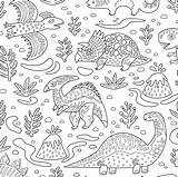 Coloring Fabric Dino Friends Penguinhouse Spoonflower sketch template