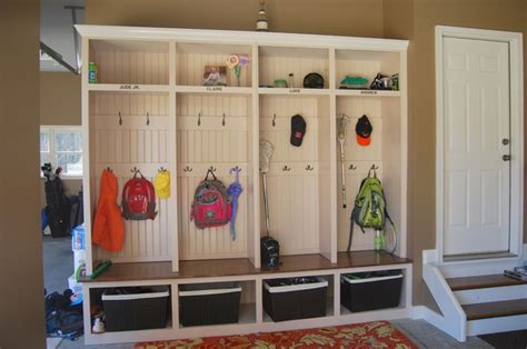 how to build a mudroom bench with cubbies simple diy garage mudroom simply organized