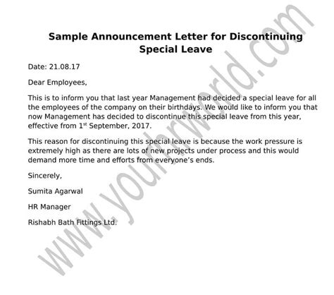 announcement letter format  discontinuing special leave