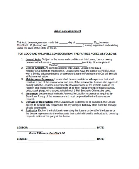 8+ Sample Blank Lease Agreements