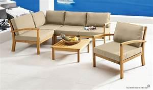 Salon Exterieur En Bois : salon de jardin en bois massif 5 places confort haut de ~ Premium-room.com Idées de Décoration