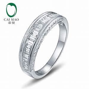 unplated 14k gold natural 125ct round baguette diamond With wholesale diamond wedding rings