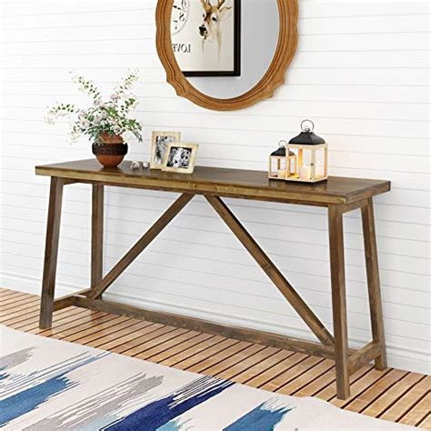 tribesigns  extra long rustic console table solid wood entry table sofa table  living