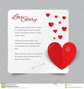 Red Paper Heart Valentines Day Card. Love Story. Stock ...