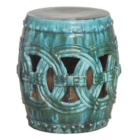 pierced linked green fortune asian ceramic garden seat