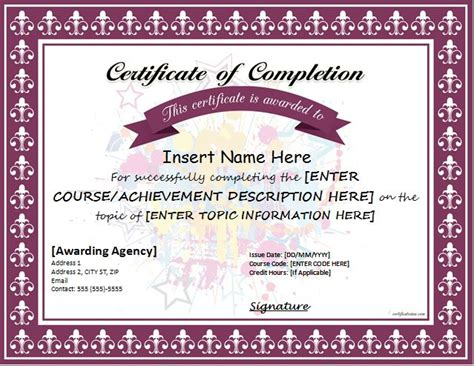certificates  completion templates  ms word