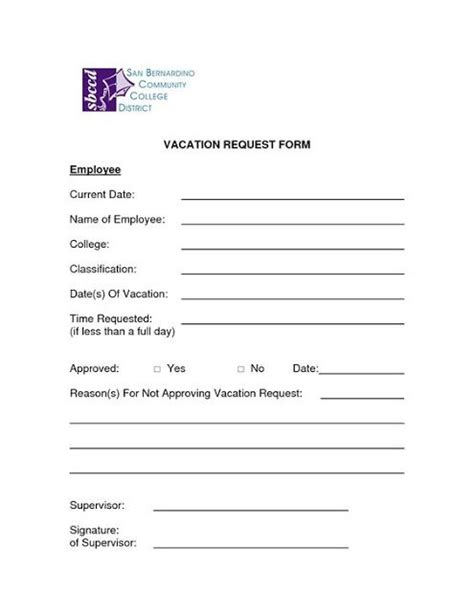 microsoft word vacation request form template employee