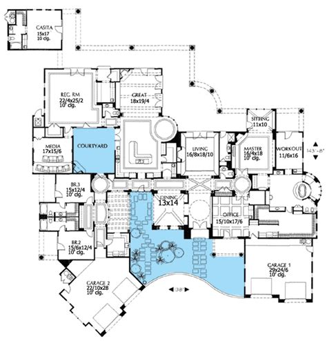 mediterranean floor plans with courtyard courtyard house plans plan w16326md luxury