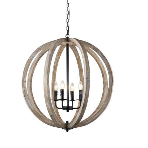 Orb Light Chandelier by Y Decor Capoli 4 Light Wooden Orb Neutral Chandelier