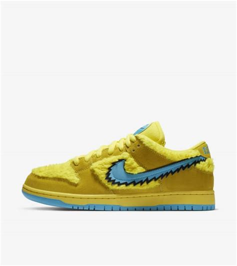 grateful dead nike sb dunk opti yellow sneaker