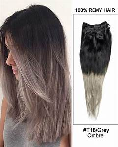 18 7pcs Clip In Human Hair Extensions T1b Grey Ombre