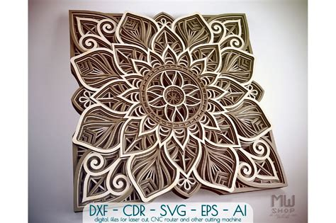 Works perfectly with your cricut or silhouette to make a fun craft project. M96 - Flower Mandala DXF, Layered Mandala SVG for Cricut ...