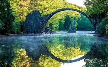Nature Landscape Bridge River Reflection Water Stones