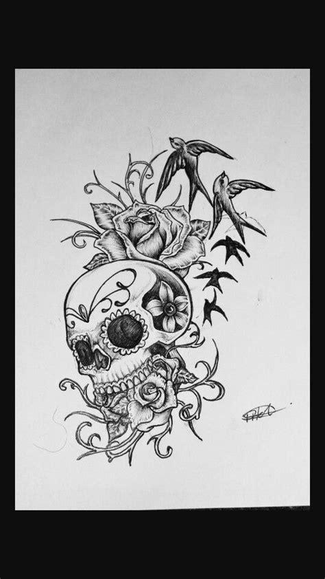 Sugar skull- flower vine   Girly skull tattoos, Skull butterfly tattoo, Sleeve tattoos