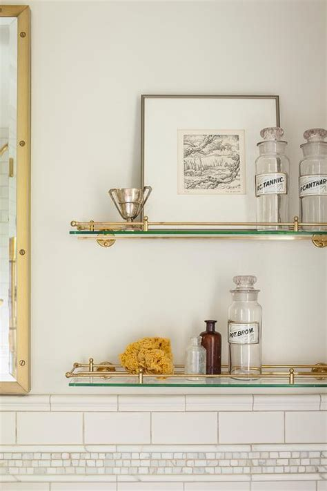 glass  brass vintage glass shelves  toilet