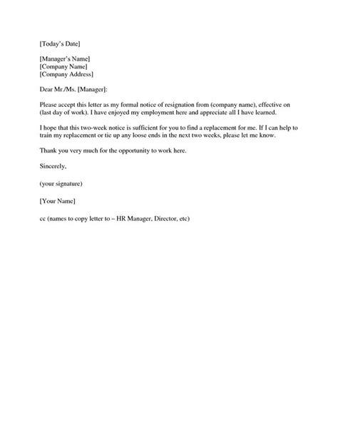 simple resignation letter  week notice picpicgoo