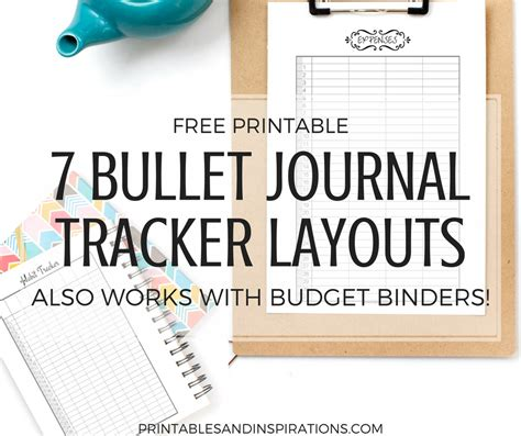 printable bullet journal tracker layouts printables inspirations