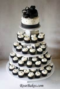 black and white wedding cakes black white wedding cake and cupcake tower