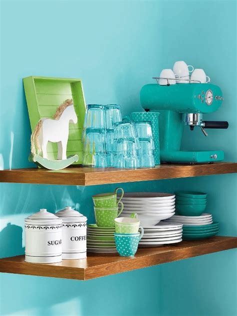 Modern Turquoise Kitchen Design With Spacesaving